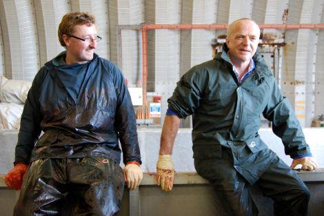 Specialist vets Andrew Brownlow (left) and Bob Reid after the post mortem - Photo: Pete Bevington, Shetland News