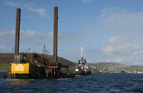 Lerwick pilot boat Kebister towing the jack up dredging barge into Scalloway harbour last weekend - Photo: Karen Fraser