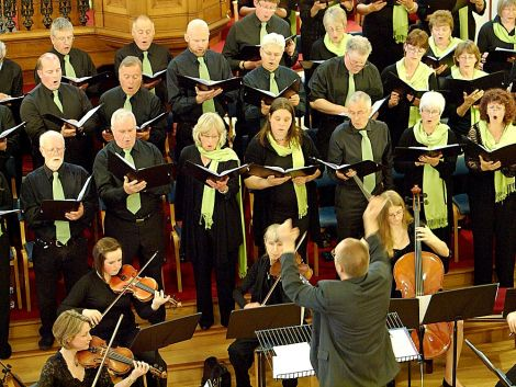 Exceptional spring choral concert: Members of the Shetland Choral Society with conductor Philip Taylor - Photo: Chris Browm
