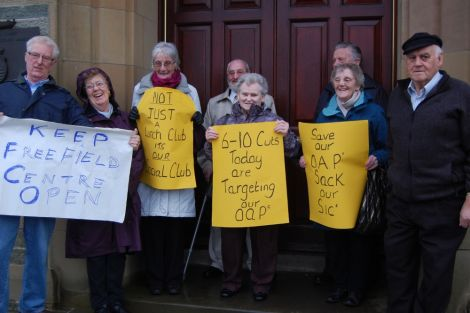 Pensionors protesting against the proposed closure of the Freefield Centre outside Lerwick town hall on the day of budget cuts, last month - Photo: Pete Bevington