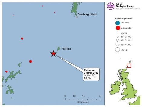 The epicentre of the earthquake was just off the island - Map: British Geological Survey
