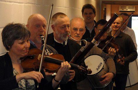 RSNO musicians kick starting their Shetland performances at Sumburgh Airport - Photo: Hans J Marter