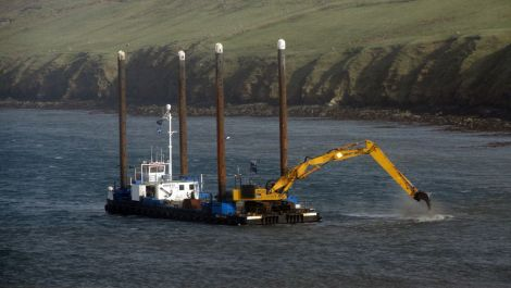 Preparation work for the exporting pipeline is ongoing in Firth Voe.