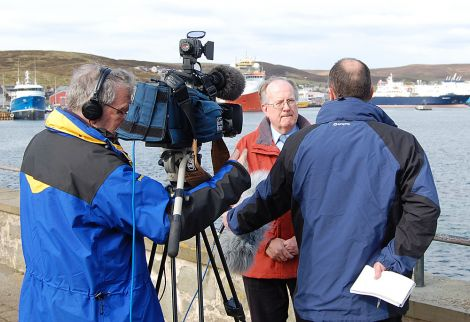 Viking Energy chairman Bill Manson being interviewed by the BBC in Lerwick on Wednesday - Photo: Shetland News