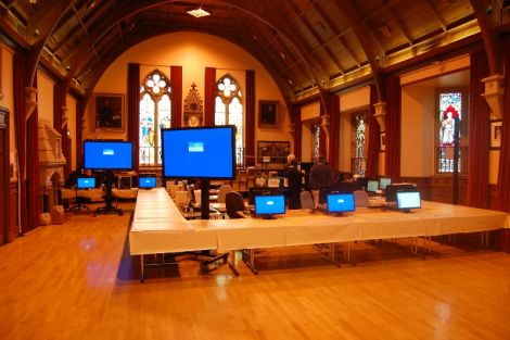 Lerwick Town Hall at 8am on election count day