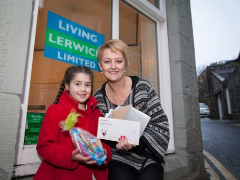 Tegan Hendren (6) and Inga Scott (Living Lerwick Ltd director and owner of The Stage Door) Pic Ben Mullay