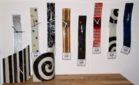 There's a range of fun and funky recycled glass clocks at Irvine Interiors.