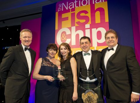 Didn't they do well! Frankie's owner Valerie Johnson, her daughter Carlyn Kearney and manager John Gold 'pleasantly surprised' after scooping four awards for their fish and chips, flanked by host Rory Bremner and award sponsor Philip Blakeman. Pic. Seafish