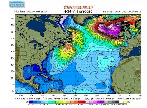 A wave model for the Northeast Atlantic until miidnight tonight - Animation: www.stormsurf.com