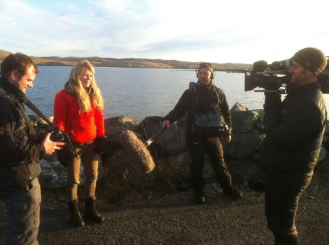 The Great British Winter team filming in Hillswick at the end of January. From left: director/producer Will Ridgeon, presenter Ellie Harrison, sound recorder Simon Coles and cameraman Peter Hyns
