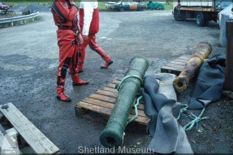 Cannons from the Wrangels Palais. Photo Shetland Museum Archives