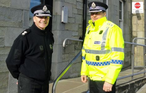 Chief superintendent Julian Innes (left) and Shetland area commander Angus MacInnes - Photo: ShetNews