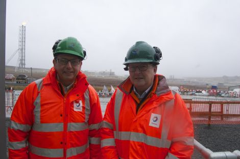 Total's UK managing director Phillipe Guys and chairman Patrice de Viviers. Photo Shetland News