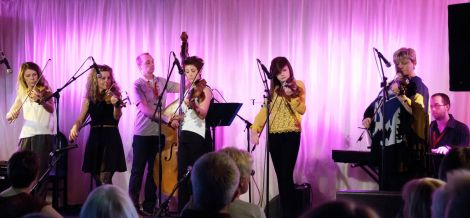 Shetland's own nearly-all-girl band Birls Aloud set off the night in rip-roaring style. Photo Olivia Abbott