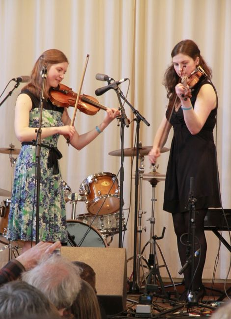 Young sisters Catherine and Sarah Brown only applied to play as a joke, bringing a Scottish flavour to the night. Photo Olivia Abbott