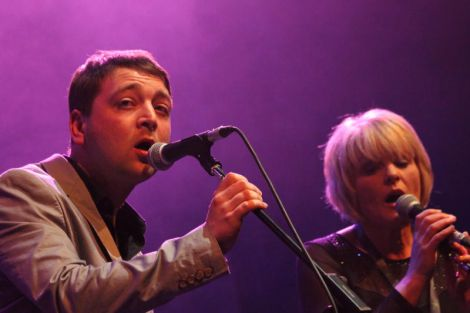 Lewie Peterson and Freda Leask's duet set the evening off. Lewie's newly unveiled vocal prowess was one of the surprise elements of the evening. Photo Davie Gardner