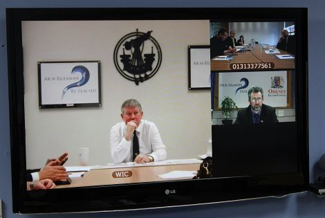 The joint press conference was held via video link (from left to right): Western isles council leader Angus Campbell, Orkney Islands Council leader Steven Heddle and Edinburgh based journalists - Photo: ShetNews
