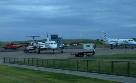Aircraft stacked up at Kirkwall airport on Tuesday morning. Photo Gary Robinson