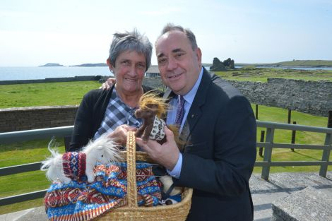 Alex Salmond arrived too late to meet the famous Shetland ponies Fivla and Vitamin in their Fair Isle jumpers, but knitwear designer Doreen Brown provided the perfect substitutes - all photos: Malcolm Younger