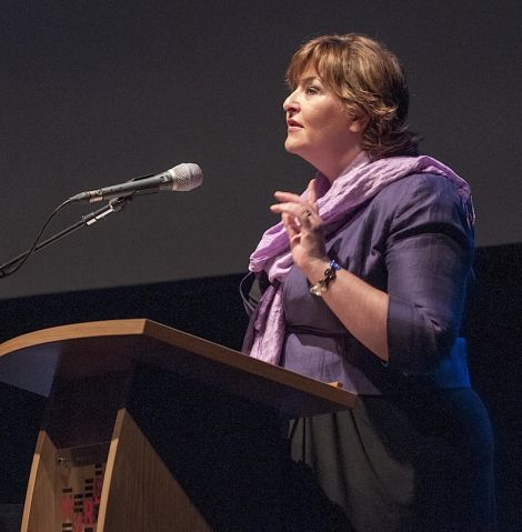 Cabinet secretary for culture Fiona Hyslop addressing the Viking Congress on Wednesday morning - Photo: Frank Bradford.