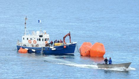 The first attempt to refloat the Prospect was abandoned on Monday afternoon - Photo: Malcolm Younger/MIllgaet Media