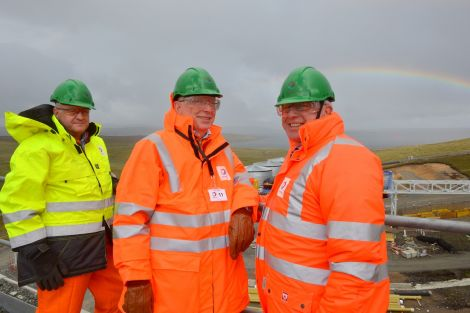A rainbow came out while DONG directors (from left) Simon Slater, Soren Gath Hansen and Brent Cheshire visited this week. Photo Malcolm Younger/Millgaet Media
