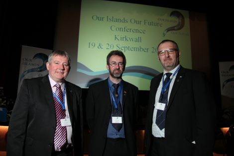 Island council leaders Angus Campbell, Steven Heddle and Gary Robinson at Thursday's opening of the historic Our Islands, Our Future conference in Kirkwall. Photo Ken Amer