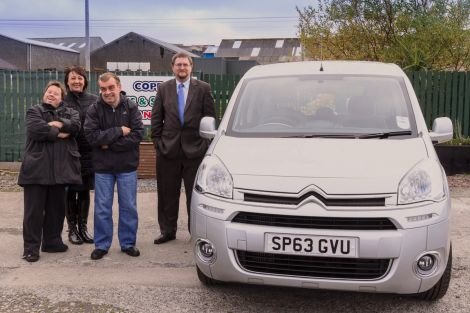 Manager of Cope, Ingrid Webb, with participants Shaun Williamson (left) and Hamish Garriock, take delivery of their new Citroen Berlingo from Hillside Motors' Martin Tregonning (far right) - Photo: Olivia Abbott