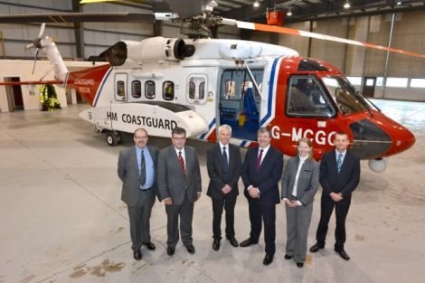 From left: Clark Broad, Bristows Helicopters; Richard Parks, Director of Maritime Operations with the MCA; Sir Alan Massey, MCA chief executive; Alistair Carmichael MP; Samantha Willenbacher, Director of UK Search and Rescue, Bristow Helicopters Ltd and chief pilot Jimmy Livitt. Photo Millgaet Media