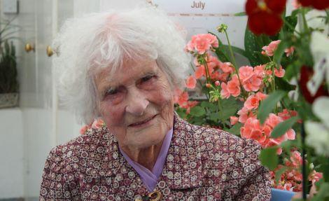 Ruby Lindsay preparing for her 105th birthday last summer. Photo: Shetnews