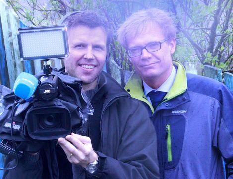 NRK correspondent Espen Aas and cameraman Johan E. Bull.