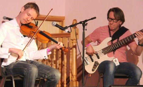 Adam Sutherland and Ewen Vernal in Bressay on Friday night. Photo: Davie Gardner