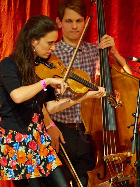 Fiddler Brittany Haas and double bassist Paul Kowert provided 'possibly the highlight of the night' for our reviewer. Photo: Chris Brown