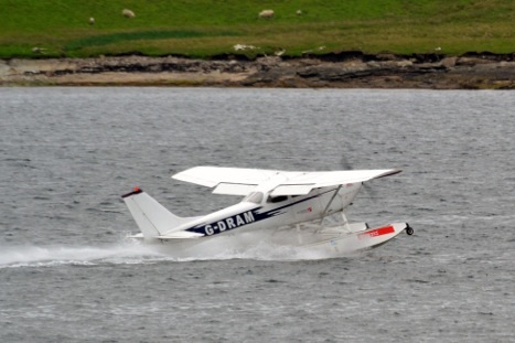 The sea plane may have been the first of its kind in Lerwick Harbour since the war. Photo: Charlie Umphray