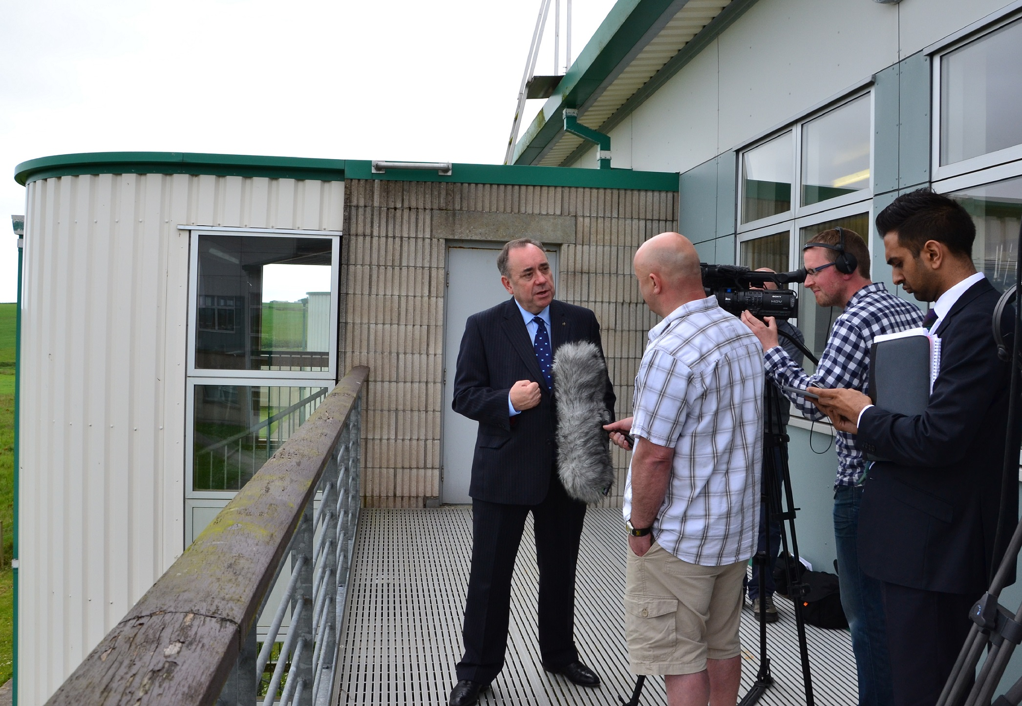 First minister Alex Salmond is quizzed by BBC Radio Orkney following the launch at Orkney College on Monday morning. Photo: Shetnews
