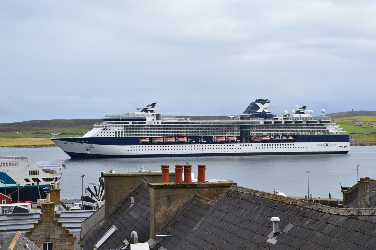 The Celebrity Infinity, which arrived in Lerwick Harbour on Thursday. Photo: Shetnews