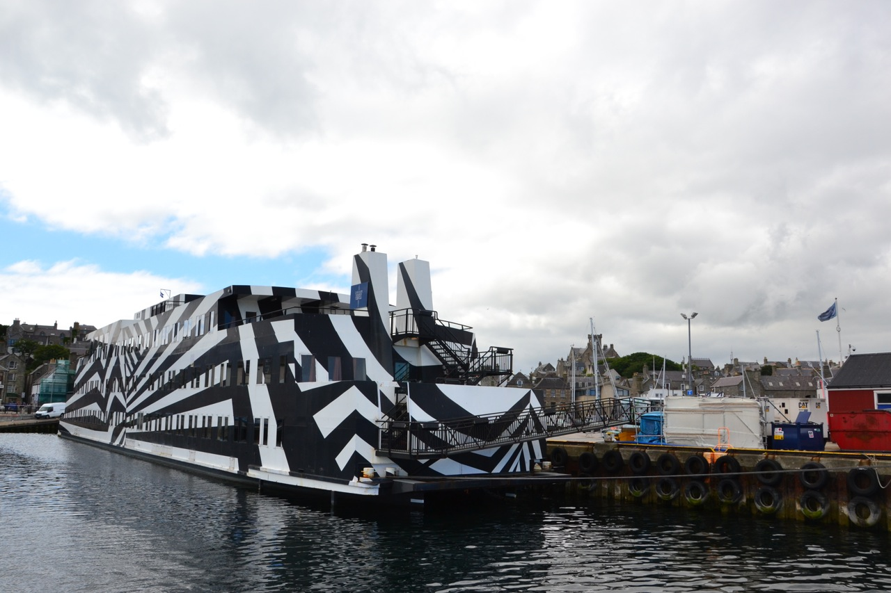 88-cabin 'zebra' vessel Sans Vitesse, one of several accommodation ships and barges currently in Lerwick. Photo: Shetnews