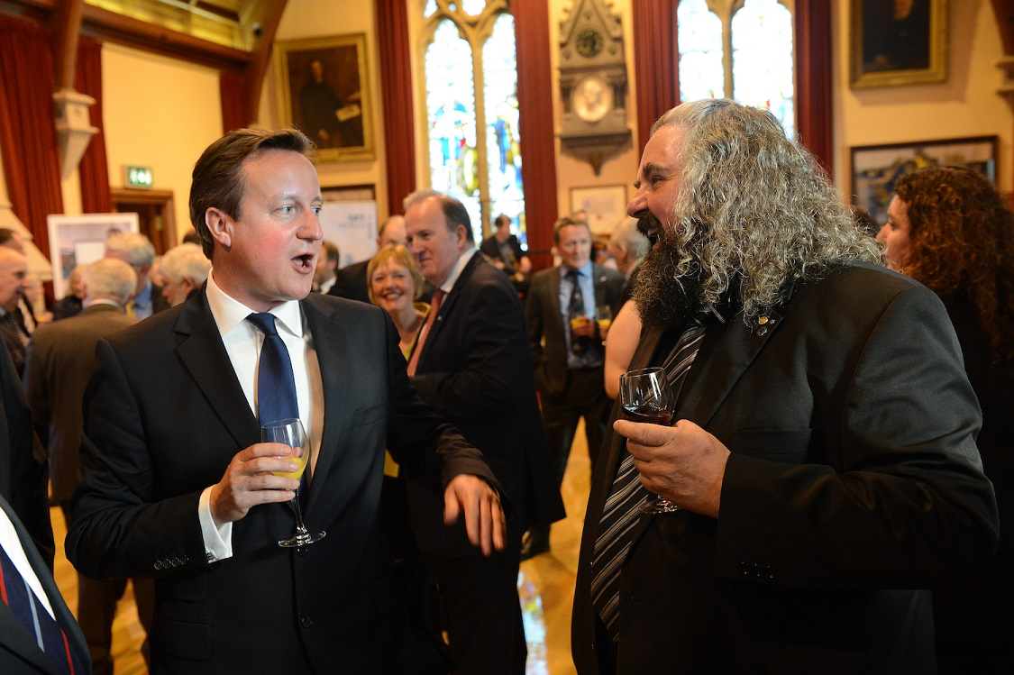 Prime Minister David Cameron in conversation with 2014 Lerwick Up Helly Aa guizer jarl Ivor Cluness in the town hall on Tuesday night.