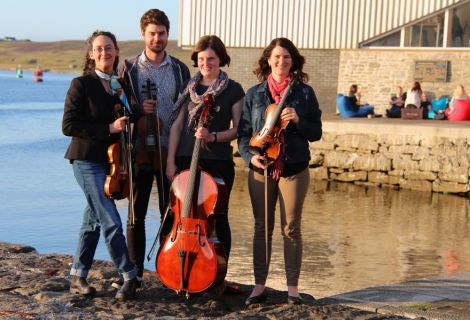 Fiddle Frenzy's Melbourne contingent: Louise, Claire, Declan and Judy. Photo: Davie Gardner