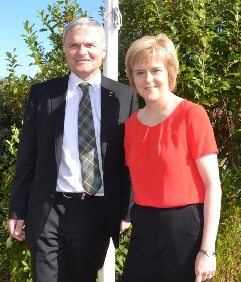 SNP list MSP Mike Mackenzie pictured in the isles with deputy first minister Nicola Sturgeon last week. Photo: Shetnews/Neil Riddell