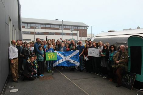 Yes supporters outside Mareel during the 'Yestival' visit to Lerwick in July. Photo: Alex Aitchison