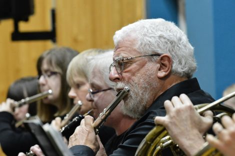 Parts of the wind section: enjoying a moment in the limelight with a rousing rendition of Dvorak's Serenade finale - Photo: Malcolm Younger/Millgaet Media
