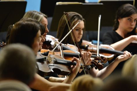 The orchestra's string section: 'flitting between grandeur and reflection' - Photo: Malcolm Younger/Millgaet Media