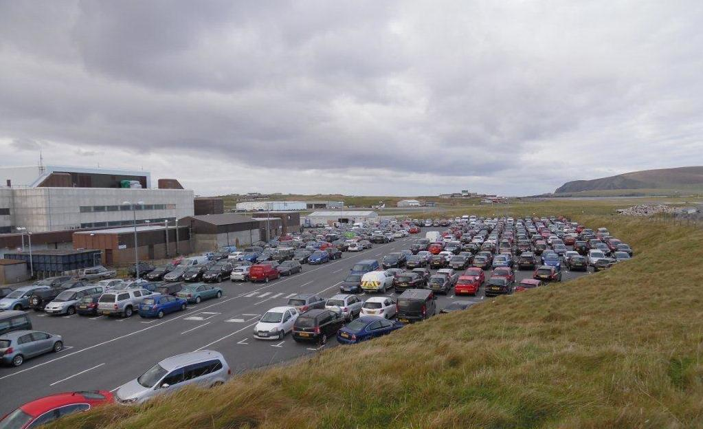 Sumburgh airport's main car park on Friday morning.