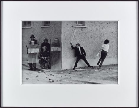 Catholic Youths Attacking British Soldiers in the Bogside of Londonderry 1971, printed 2013, ARTIST ROOMS, Presented by the artist jointly to National Galleries of Scotland and Tate and acquired with assistance of the ARTIST ROOMS Endowment, supported by the Henry Moore Foundation and Tate Members 2013 - Image © Don McCullin