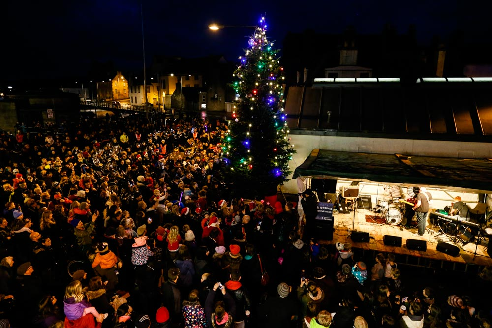 A large crowd turned out for Sunday's opening of the Lerwick winter festival - Photo: Ben Mullay