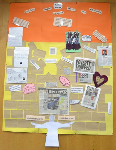 """A """"wall of voices"""" about the scourge of poverty at the Salvation Army's North Road premises. Photo: Shetnews"""