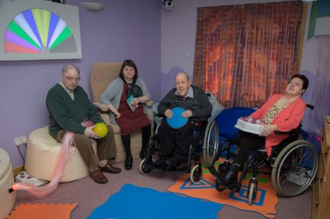 Some of the users of Newcraigielea in the newly finished Scottish Sea Farms sensory room. From left to right: Robbie Burns, Margaret Mail, Ivan Nisbet and Mimmie Moar.