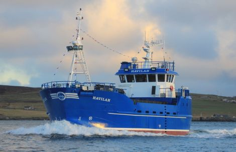 The brand new salmon feed carrier Havilah started work on Tuesday after arriving in Lerwick on Monday. Photo Ian Leask