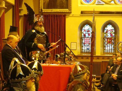 Guizer Jarl Neil Robertson speaking before assorted dignitaries at Lerwick Town Hall. Photo: Chris Brown